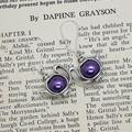 Wonderland Earrings - Tea party teapot earrings silver and purple