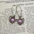Wonderland Earrings - Tea party teapot earrings brass and pink