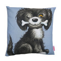 Cute Dog with Bone Cushion . Made from a linen Vintage Retro Tea Towel