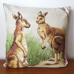 Australian KANGAROOS Cushion made from Vintage Retro Tea Towel - OOAK , upcycled