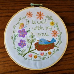 Christian Embroidery in the hoop 'It Is Well with my Soul', wall hanging
