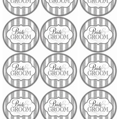 BRIDE AND GROOM SILVER ROUND 60MM WEDDING STICKERS