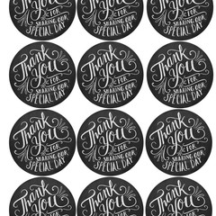 CHALKBOARD THANK YOU FOR SHARING OUR SPECIAL DAY ROUND 60MM STICKERS