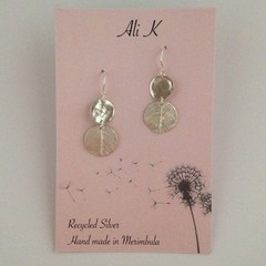 Recycled 99.9% silver double disc earrings