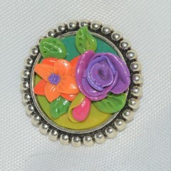 Metal and Polymer Clay Brooch