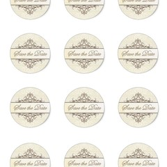 CREAM SAVE THE DATE ROUND 60MM STICKERS