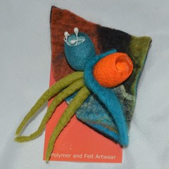 Silk Cocoon Felted Brooch