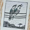 Australian Kookaburra Lino Cut Print / Laughing Kookaburra Bird Print