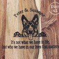 Personalised Etched Timber Acacia Boards - Peeking Dog Design- choose your breed