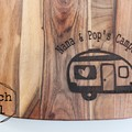 Personalised Etched Timber Acacia Boards - Happy Camper & Pizza Board