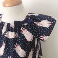 Size 3  Smock Dress - Peasant Dress - Bunnies - Easter - Navy