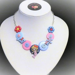 Girl's Mermaid necklace (pink bow)