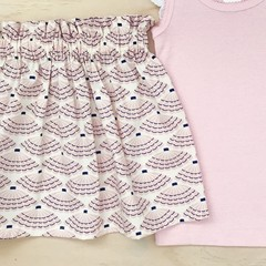 Size 4 - Skirt - Sea Shells - Cream - Pink - Organic cotton