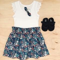 Size 2 - High Waist Skirt - Cotton - Blue - organic- floral