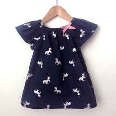 Size 3 - Smock Top -Unicorn - Peasant top - Retro - Navy