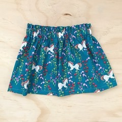 Size 3 -  Skirt - Teal Unicorns - Retro - Bright - Girls - Cotton