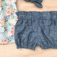 Size 2 - Bubble Shorties - Denim Blue - Bloomers - Retro -