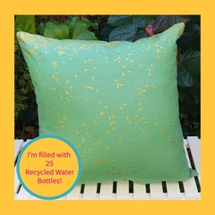 Green And Gold Rice Cushion With Recycled Insert