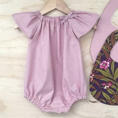 Size 1 - Romper - Dusty Pink - Cotton - Baby Girls - Retro