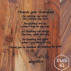 Personalised Etched Timber Acacia Boards - Handwritten By You- Fully Custom