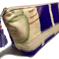 Silk Zipper Bag, Luxury Evening Purse, Vintage Silk, Unique Jewellery Pouch
