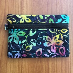 Blue Floral Batik Coin Purse
