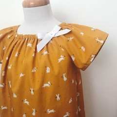 Size 5 - Smock Dress - Mustard Peasant Dress - Bunnies - Easter