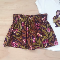 Size 3 - Skirt - Plum Floral - Mustard - Retro - Girls
