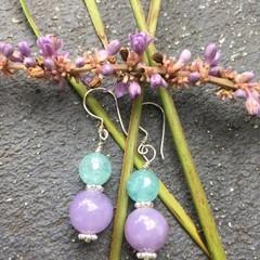 Aquamarine Lavender Jade Earrings, Gemstone Earrings Agate Earrings Lavender Aga