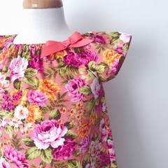 Size 4 -  Smock Dress - Peasant Dress - Retro Floral - Pink - Yellow