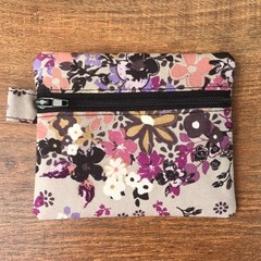 Coin Purse - Grey Floral
