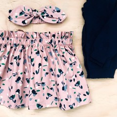 Size 4 - Skirt - Floral - Dusty Pink -  Retro - Cotton