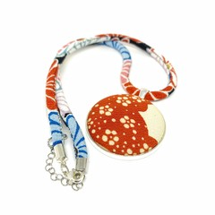 Kimono Necklace/Pendant -  Red and Blue Florals