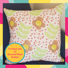 Organic Linen Flower and Leaf Cushion With Recycled Insert