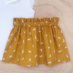 Size 4 - Skirt - Mustard Bunnies - Rabbits - Easter - Girls