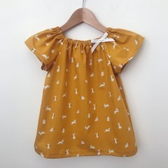 Size 3 - Smock Top - Mustard Bunnies - Easter - Peasant Top -