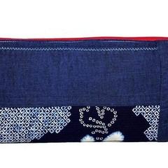 Linen-Cotton Zipper Bag, Indigo Shibori Make up Pouch, Japanese Style Cosmetic