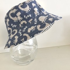 Boys summer hat in blue dino fabric