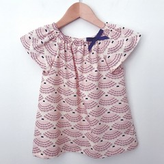Size 4 - Smock Top - Sea Shells - Pink - Navy - Organic Cotton