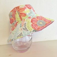 Girls wide brim summer hat in sweet floral fabric