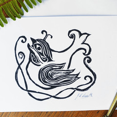 Handprinted Bird Greeting Card - Sacred Bird - Original Lino Print