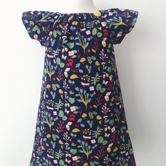 Size 5 - Smock Dress - Teal Floral - Cotton - Retro