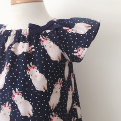 Size 3  Smock Dress - Peasant Dress - Bunnies - Easter - Navy
