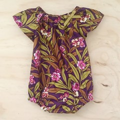 Size 0 - Romper - Plum Floral - Retro - Mustard - Baby Girl