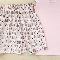 Size 5 - Skirt - Sea Shells - Cream - Pink - Organic cotton