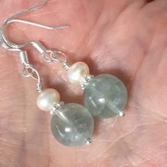 Fluorite Freshwater Pearl Gemstone Earrings Heart Chakra Gemstone Jewellery Fluo