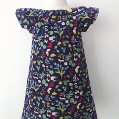 Size 3 - Smock Dress - Teal Floral - Cotton - Retro