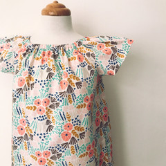 Size 4 - Smock Dress - Cream Floral - Cotton - Retro - Organic