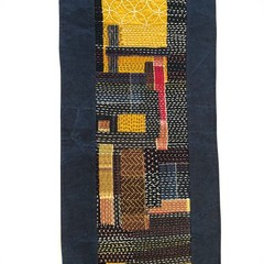 Wall Hanging Boro style patchwork Sashiko Stitching, Japanese Style Table Runner
