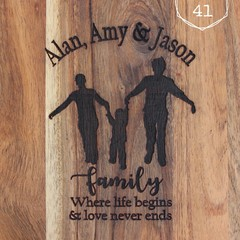 Personalised Etched Timber Acacia Boards - Silhouette Family